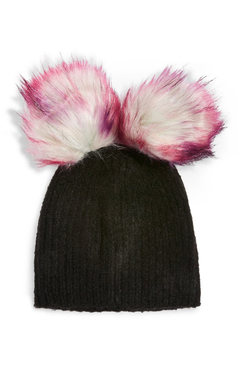 TOPSHOP Faux Fur Double Pompom Beanie, Main, color, 001