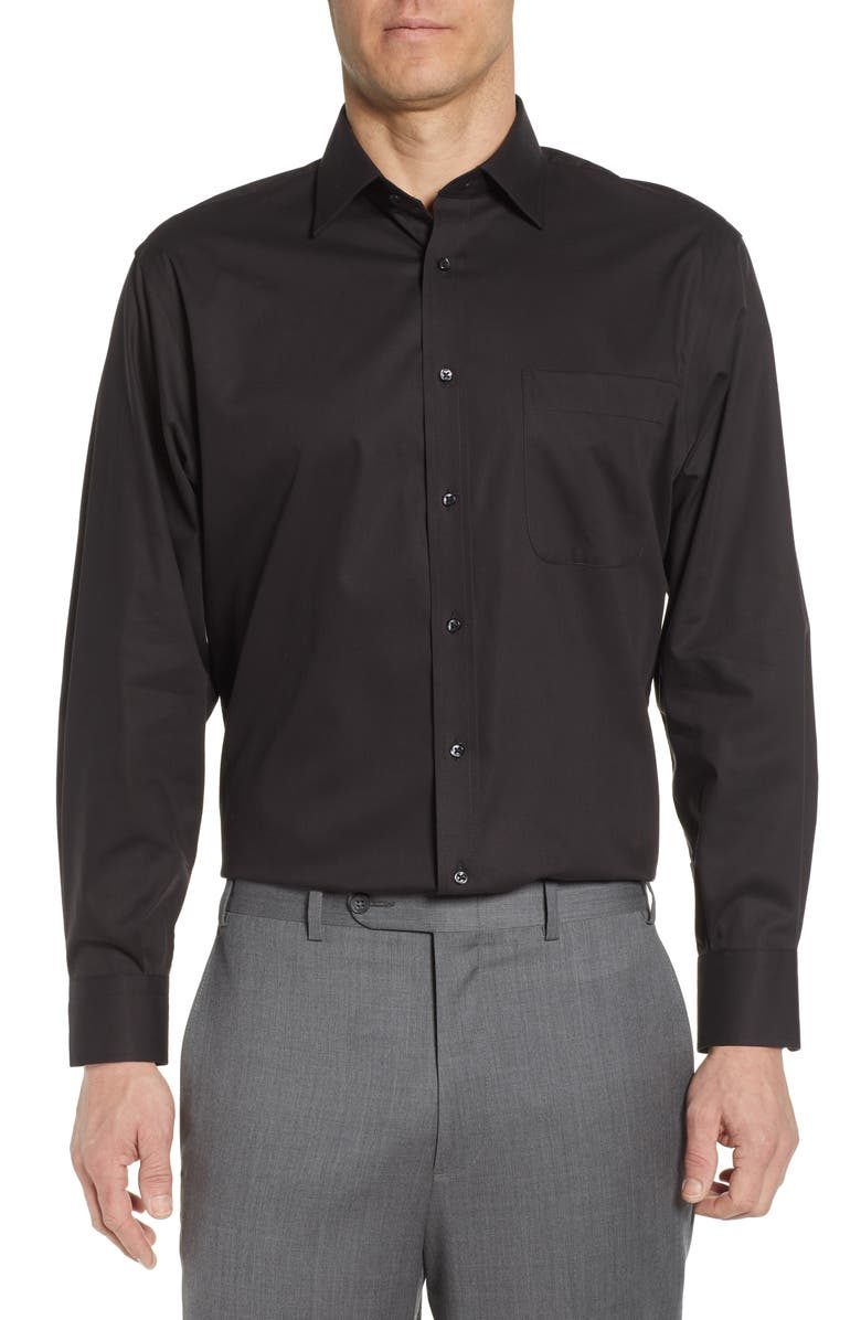 NORDSTROM MEN'S SHOP Nordstrom Classic Fit Non-Iron Solid Dress Shirt, Main, color, BLACK