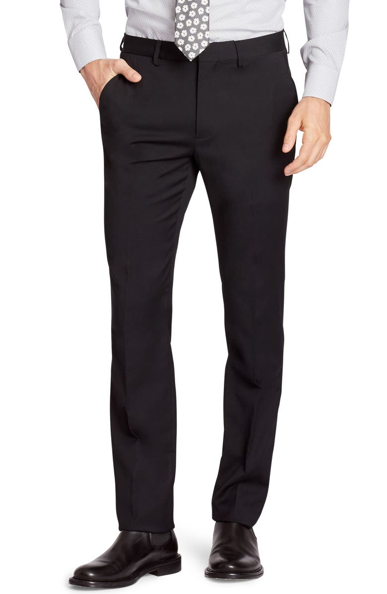 BONOBOS Jetsetter Slim Fit Flat Front Stretch Wool Dress Pants, Main, color, BLACK