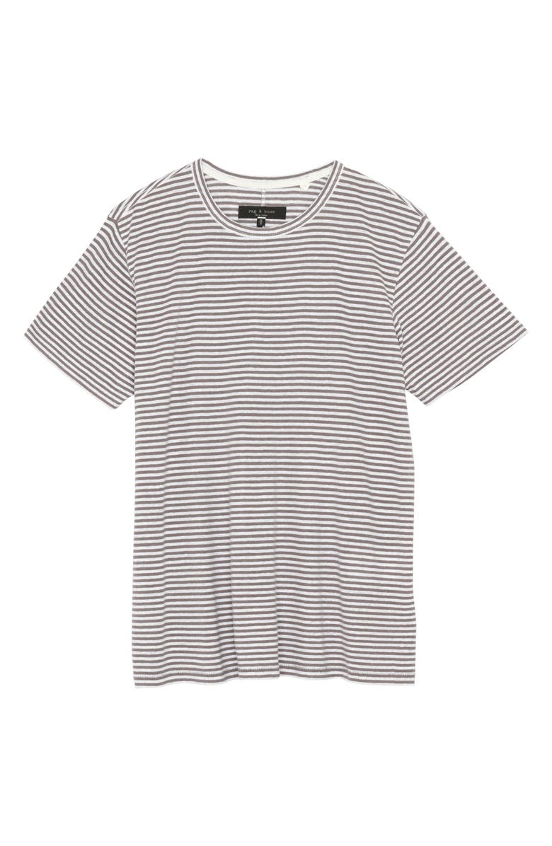 RAG & BONE Air Stripe Linen Blend Men's T-Shirt, Main, color, GRANITE
