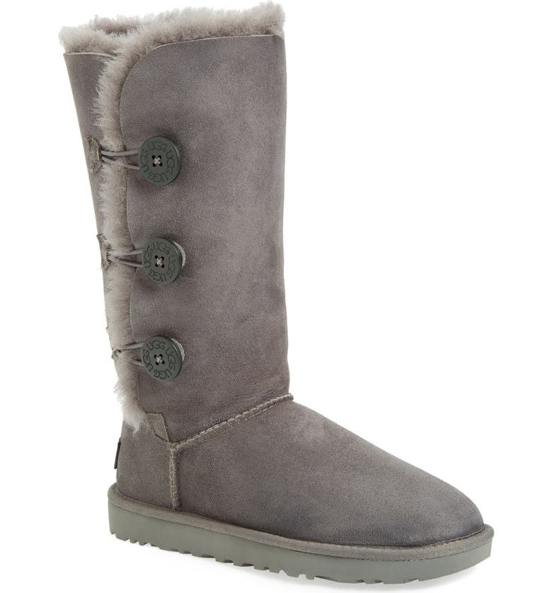 UGG<SUP>®</SUP> Bailey Button Triplet II Genuine Shearling Boot, Main, color, GREY SUEDE