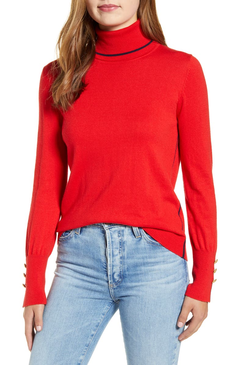 COURT & ROWE Button Cuff Tipped Turtleneck Sweater, Main, color, 625