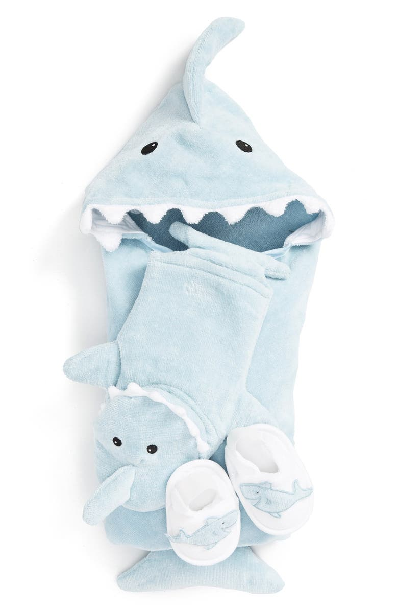 BABY ASPEN Let the Fin Begin Hooded Terry Robe, Bath Mitt & Slippers Set, Main, color, 450