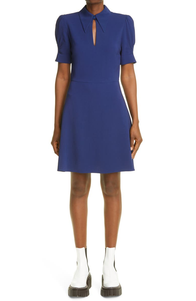 STELLA MCCARTNEY Blair Puff Sleeve Stretch Cady Dress, Main, color, 4200 SAPPHIRE