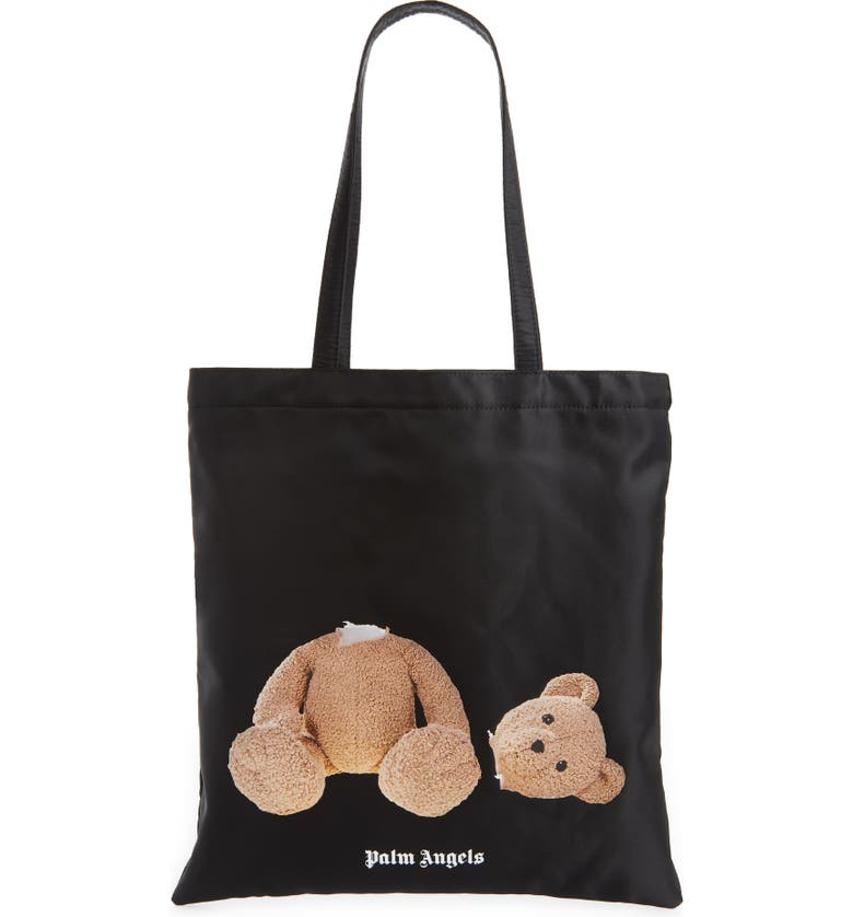 PALM ANGELS Bear Graphic Nylon Tote, Main, color, BLACK BROWN