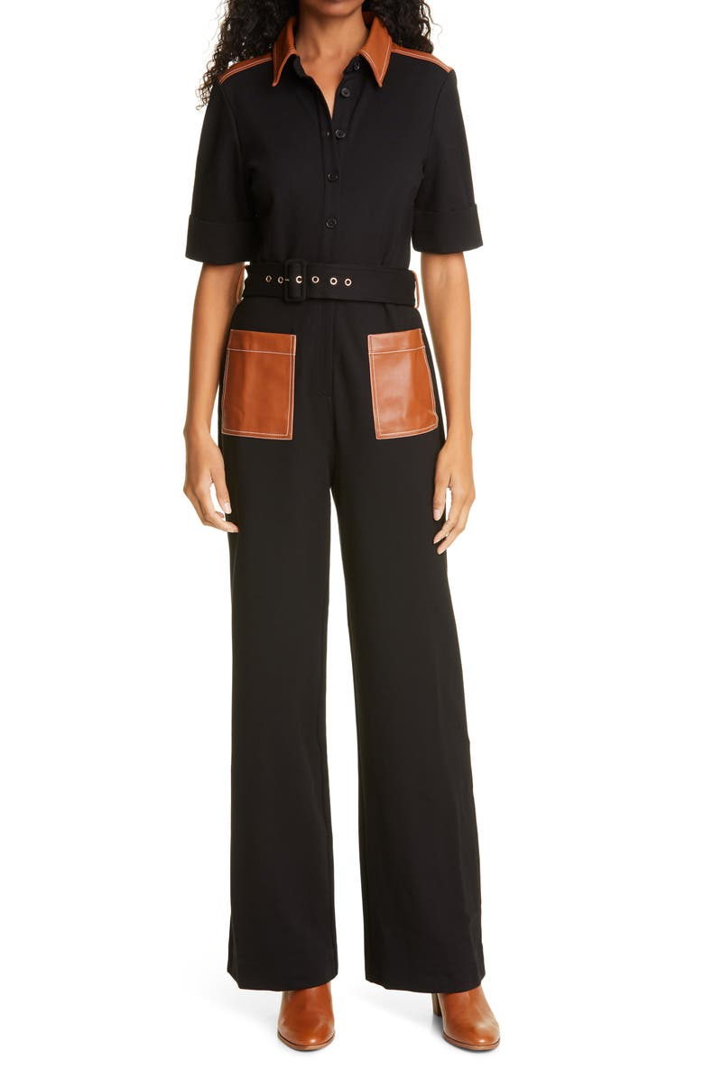 STAUD Davey Faux Leather Detail Jumpsuit, Main, color, 001