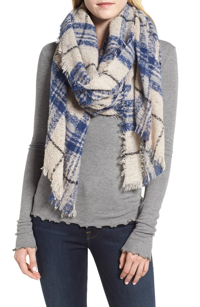 SOLE SOCIETY Mixed Plaid Scarf, Main, color, BLUE MULTI