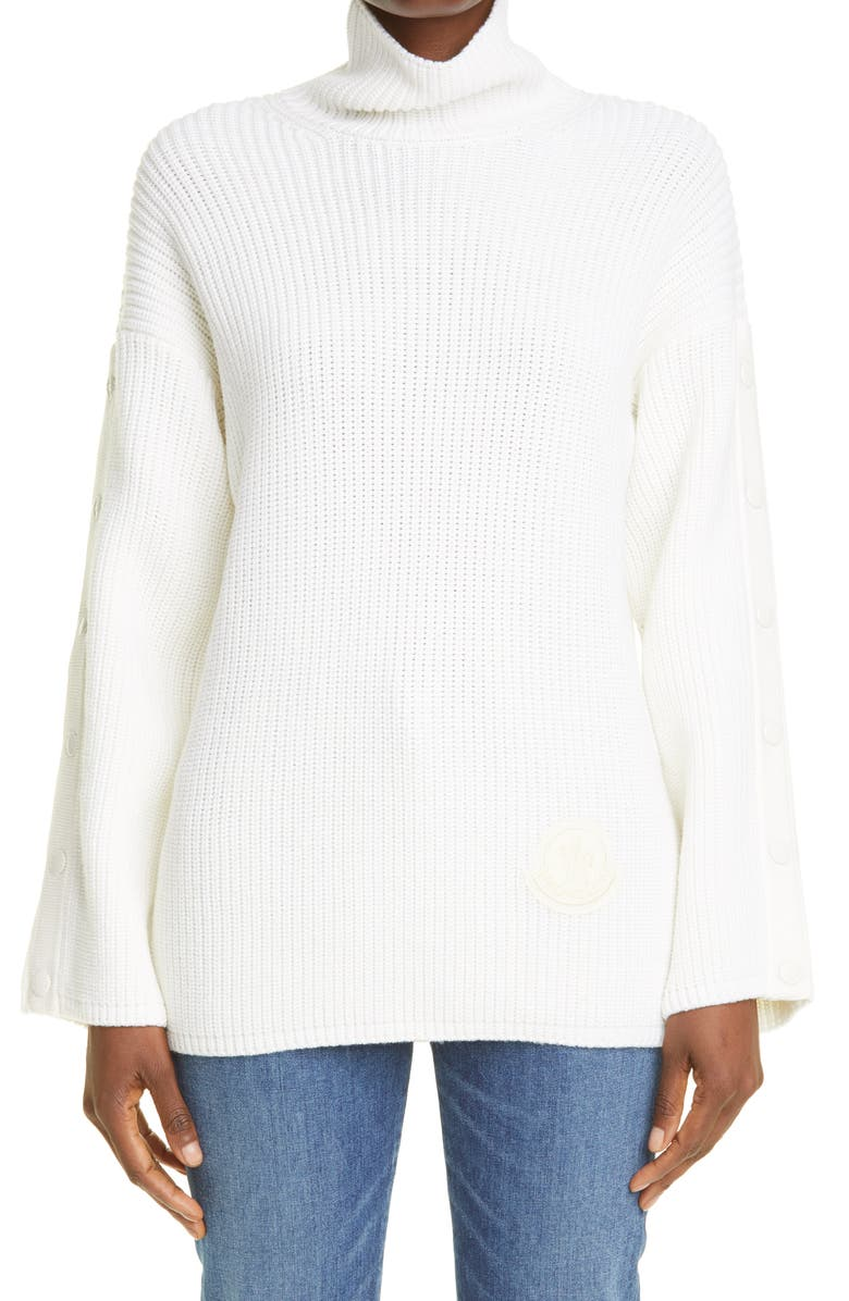 MONCLER Snap Sleeve Wool Turtleneck Sweater, Main, color, 030 WHITE