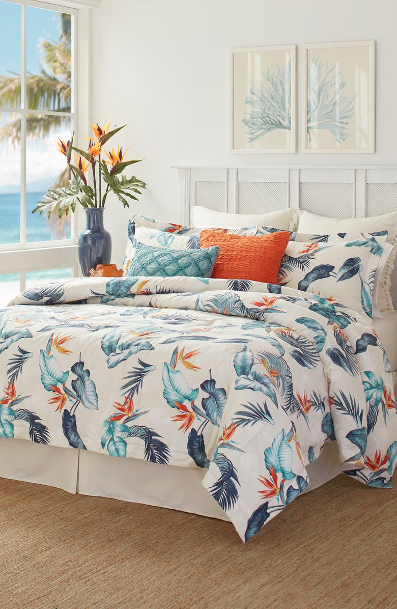 TOMMY BAHAMA Bird's Eye View Comforter, Sham & Bed Skirt Set, Main, color, CORAL