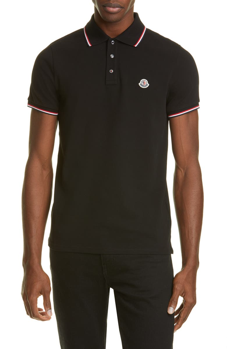 MONCLER Tipped Solid Short Sleeve Piqué Polo, Main, color, 001