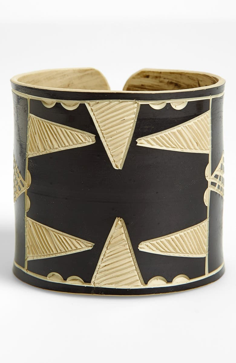 THE BASE PROJECT 'Herero Headdress' Etched Cuff Bracelet, Main, color, 001