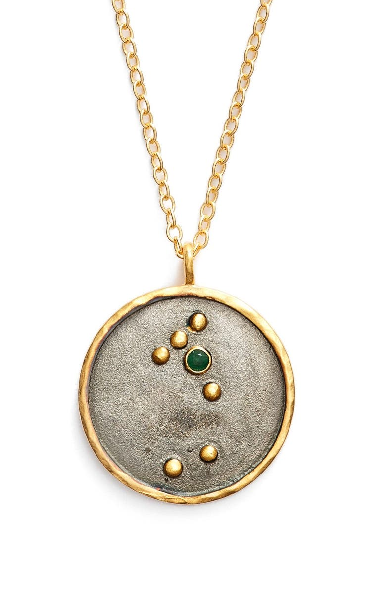 SATYA JEWELRY Reversible Constellation Pendant Necklace, Main, color, GOLD EMERALD- TAURUS