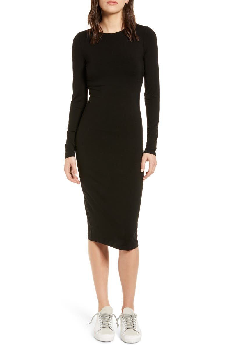 NINETY PERCENT Fitted Long Sleeve Dress, Main, color, 001