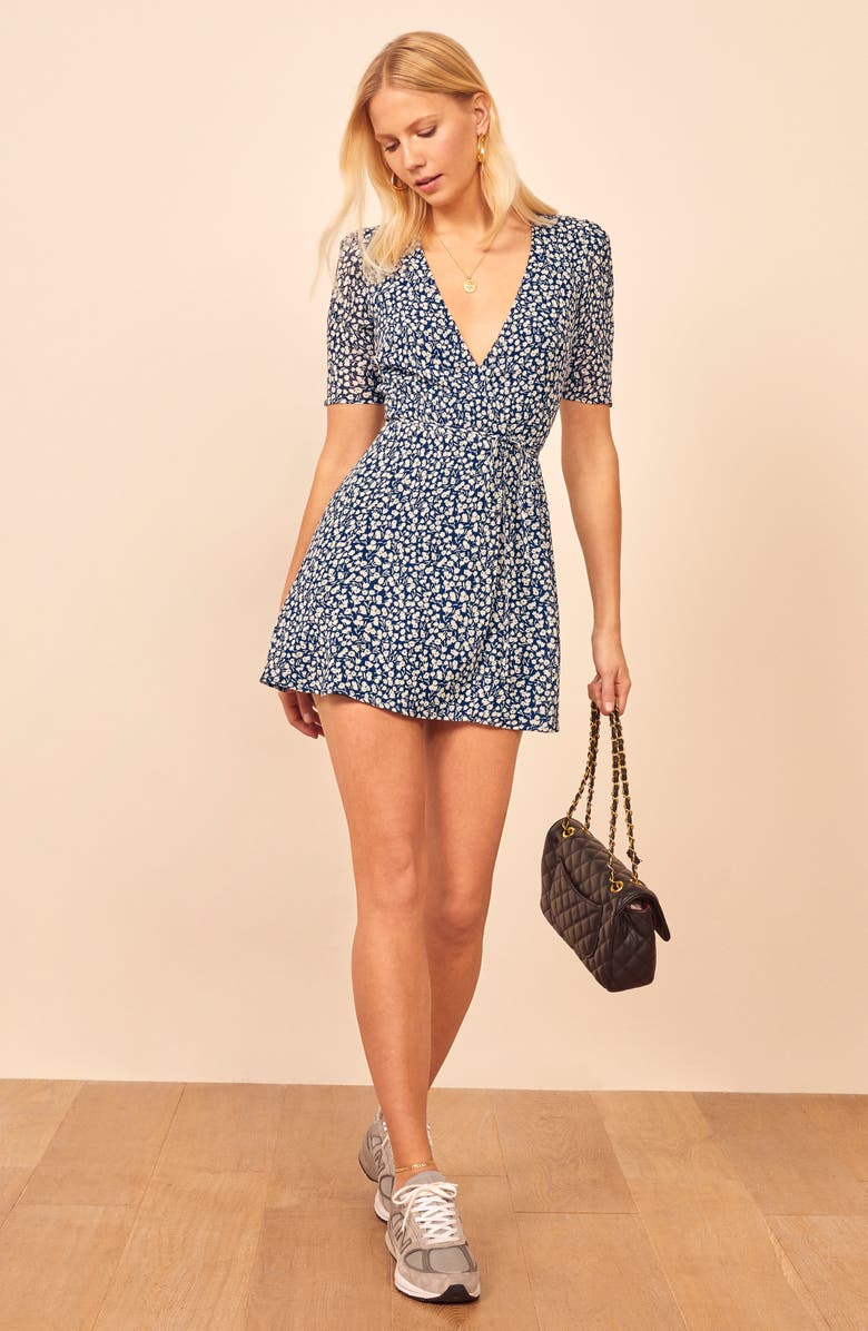 REFORMATION Lucky Wrap Minidress, Main, color, 403