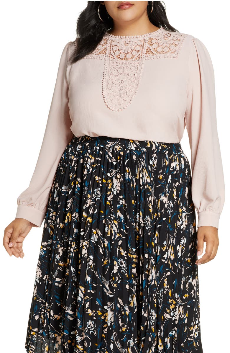 HALOGEN<SUP>®</SUP> Embroidered Lace Yoke Blouse, Main, color, 680
