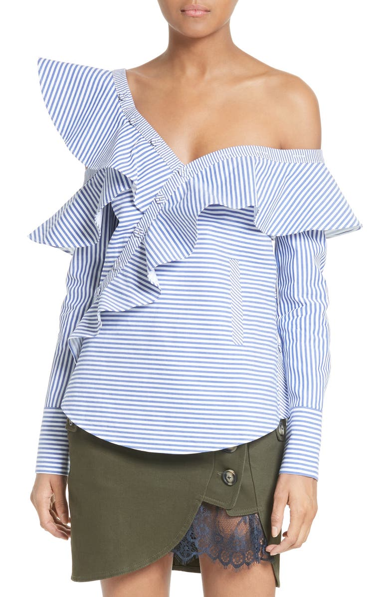 SELF-PORTRAIT Asymmetrical Ruffle Top, Main, color, 400