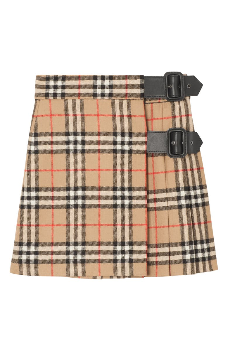 BURBERRY Luiza Check Wool Skirt, Main, color, ARCHIVE BEIGE CHECK
