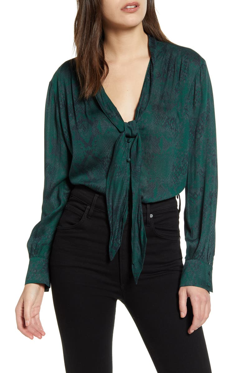 7 FOR ALL MANKIND<SUP>®</SUP> Snake Print Tie Neck Blouse, Main, color, 301