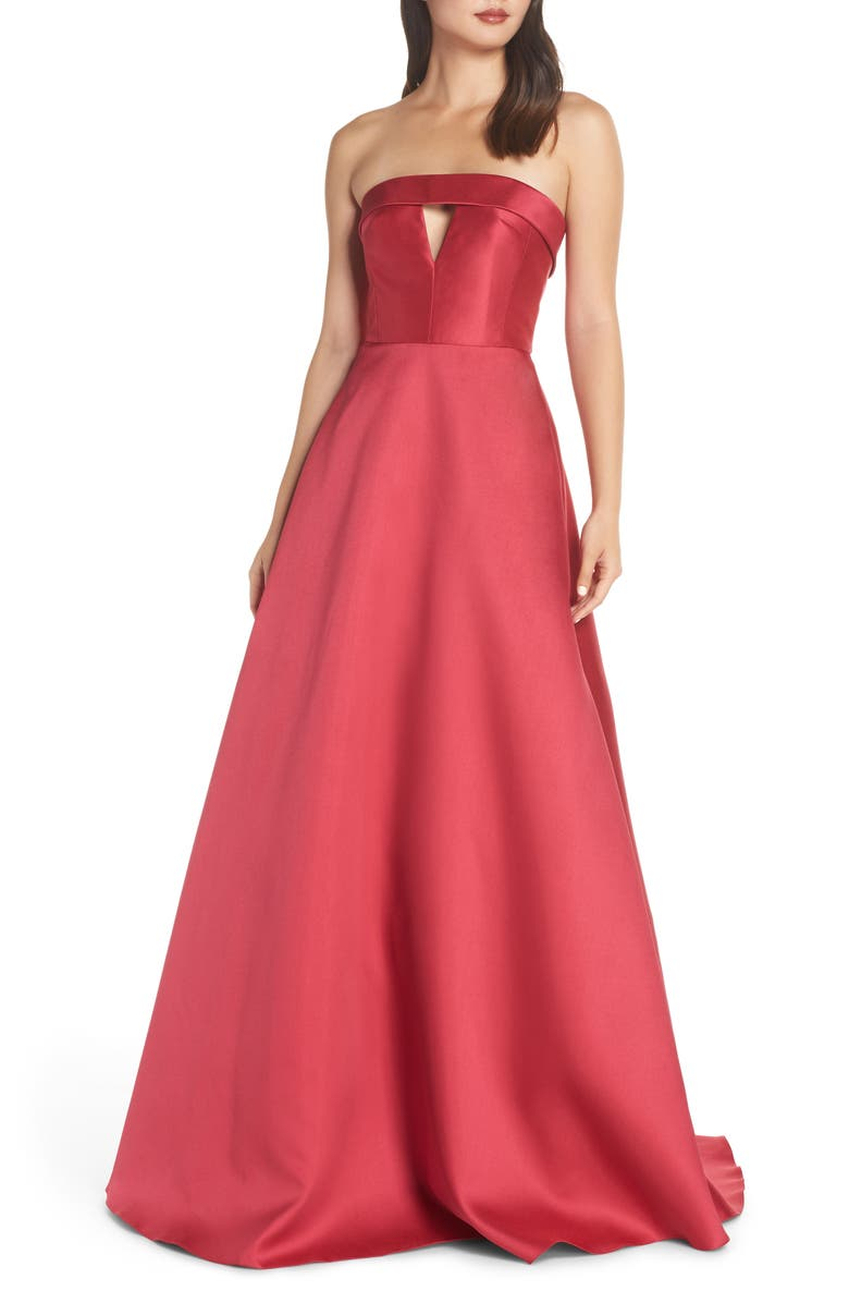 ML MONIQUE LHUILLIER Strapless Satin Ballgown, Main, color, 668