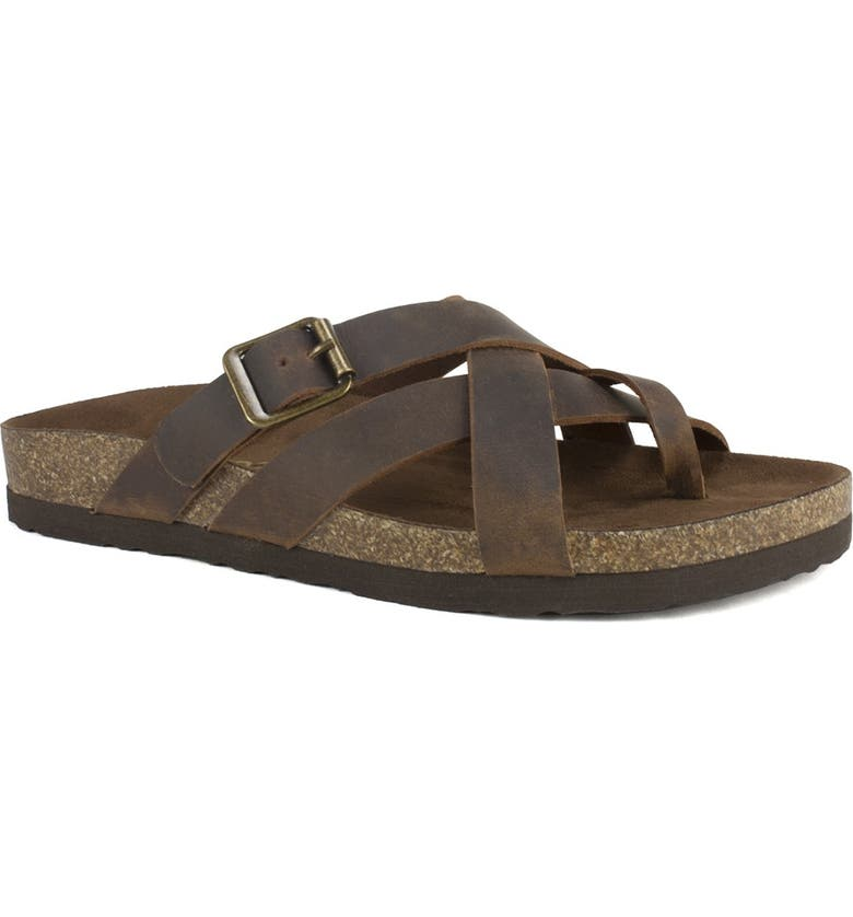 WHITE MOUNTAIN Hobo Woven Sandal, Main, color, BROWN/LEATHER