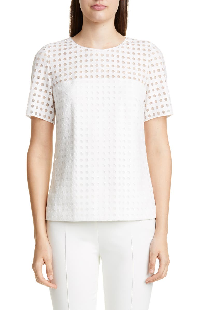AKRIS PUNTO Dot Mesh Top, Main, color, 100