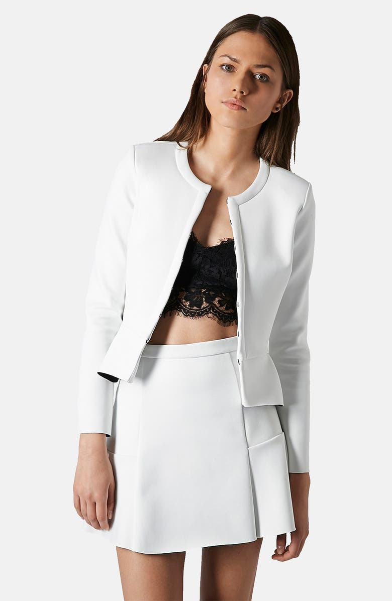 TOPSHOP Bonded Peplum Jacket, Main, color, 100