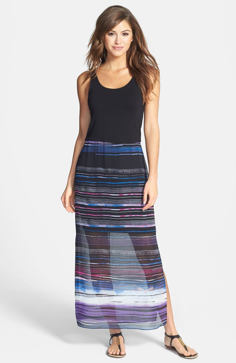 VINCE CAMUTO 'Sweep Stripe' Chiffon Overlay Maxi Dress, Main, color, 060