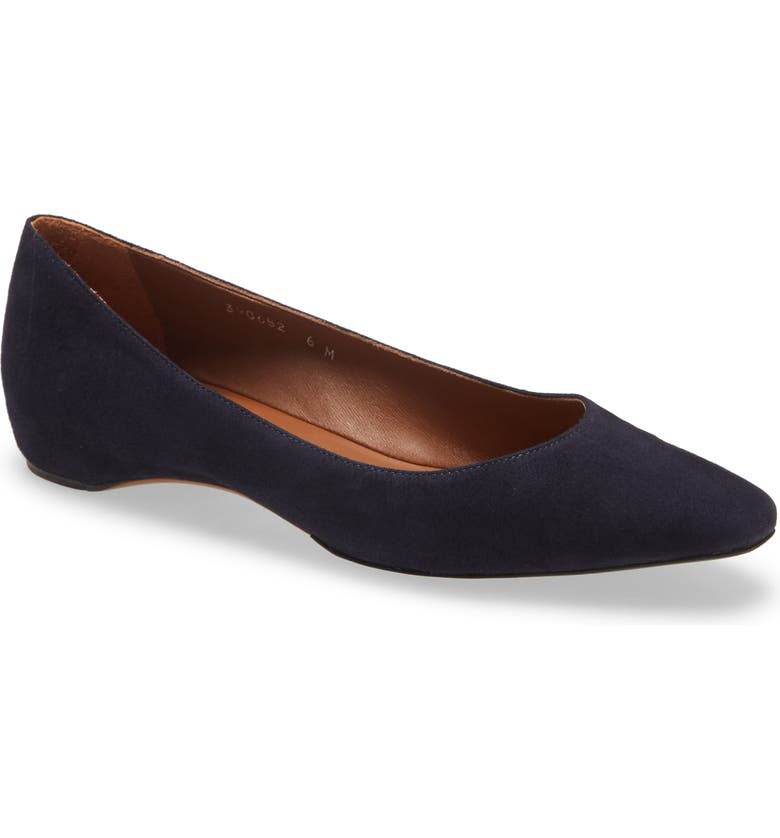 AQUATALIA 'Marcella' Weatherproof Ballerina Flat, Main, color, NAVY SUEDE