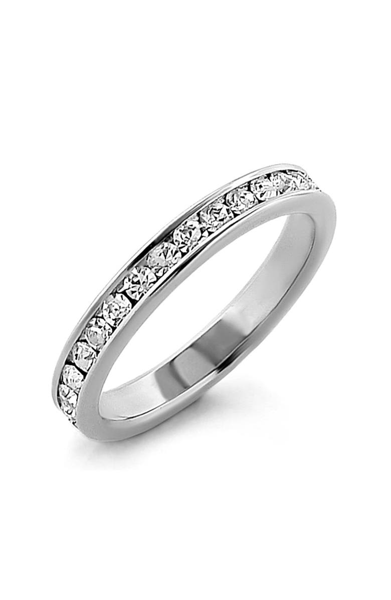 ARIELLA COLLECTION Cubic Zirconia Eternity Band Ring, Main, color, SILVER