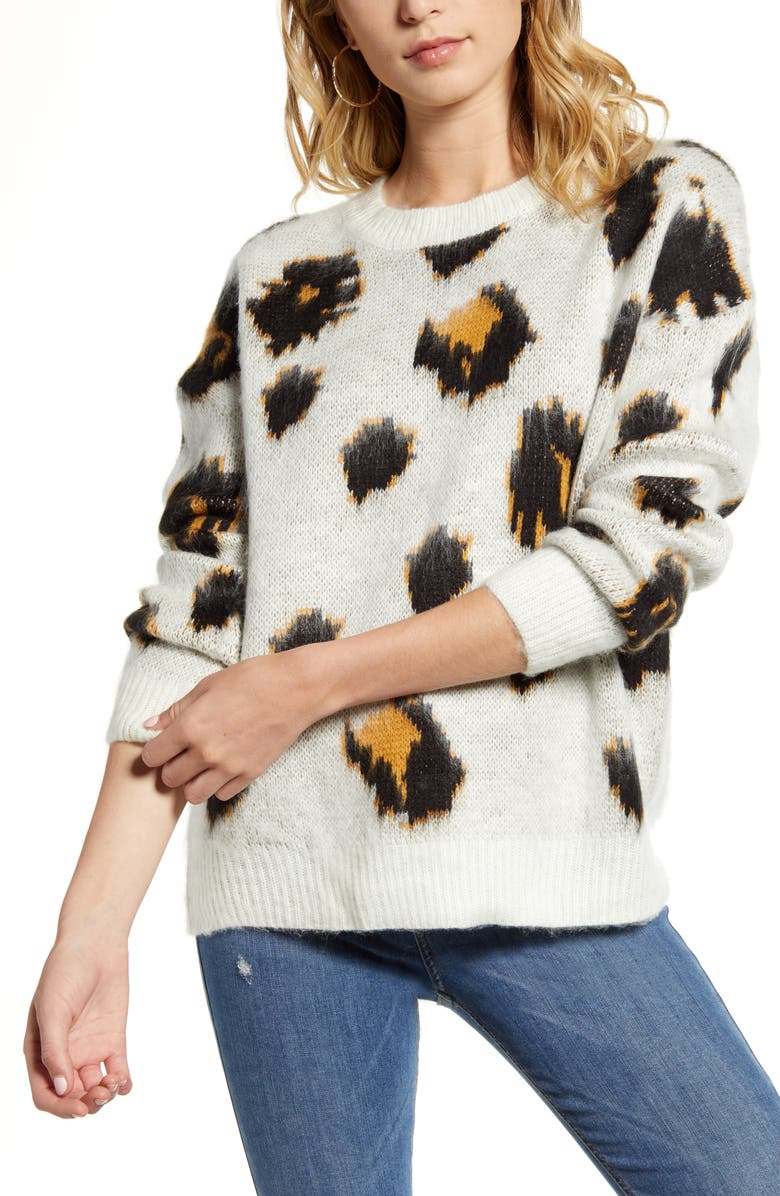 WOVEN HEART Leopard Pullover, Main, color, 900