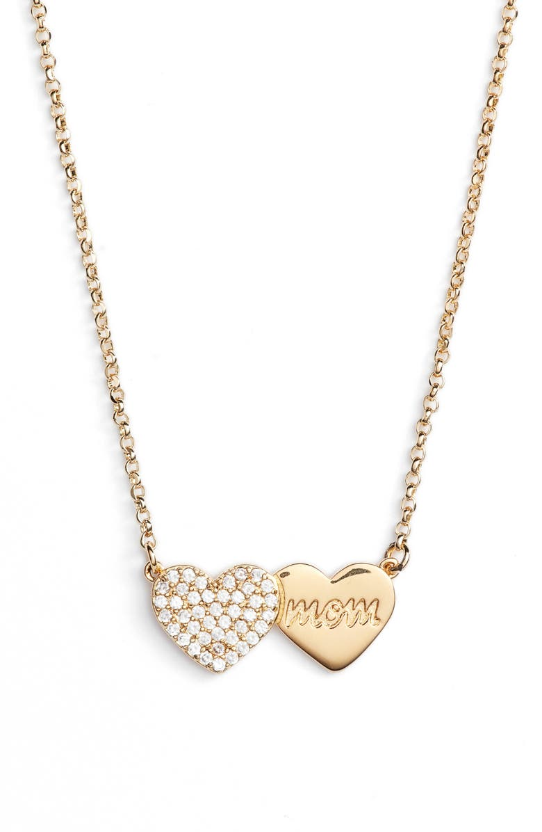 KATE SPADE NEW YORK mom knows best pavé heart necklace, Main, color, GOLD