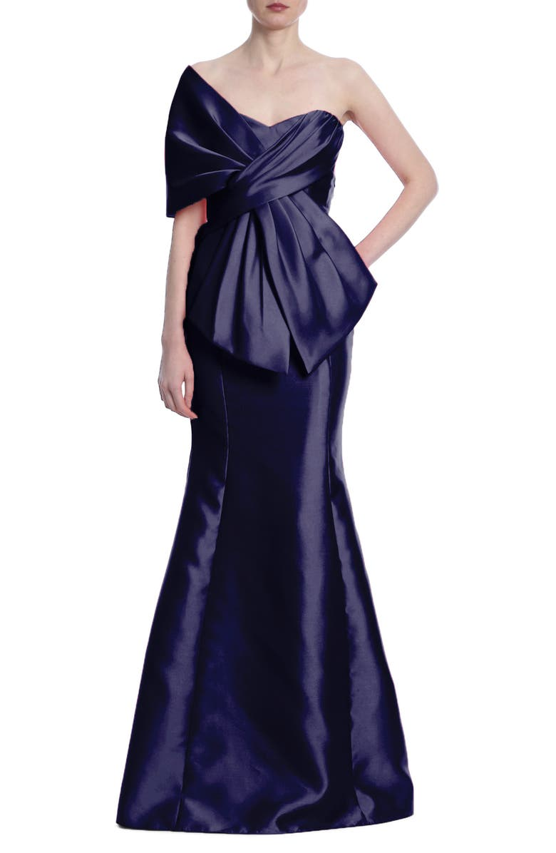 BADGLEY MISCHKA COLLECTION Bow Off the Shoulder Mikado Gown, Main, color, NAVY