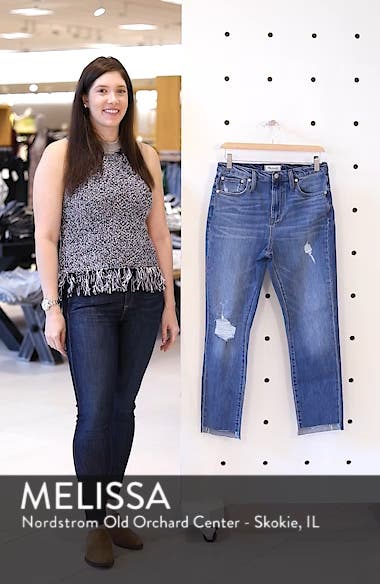 The High Waist Step Hem Slim Boy Jeans, sales video thumbnail