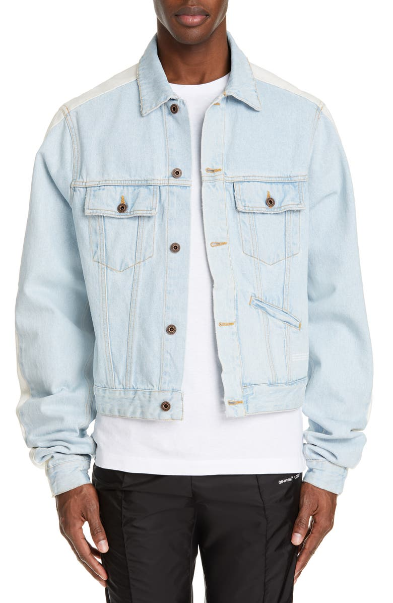 OFF-WHITE Exaggerated Sleeve Denim Jacket, Main, color, 100