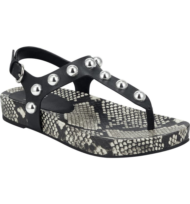 MARC FISHER LTD Indie Studded Sandal, Main, color, BLACK LEATHER