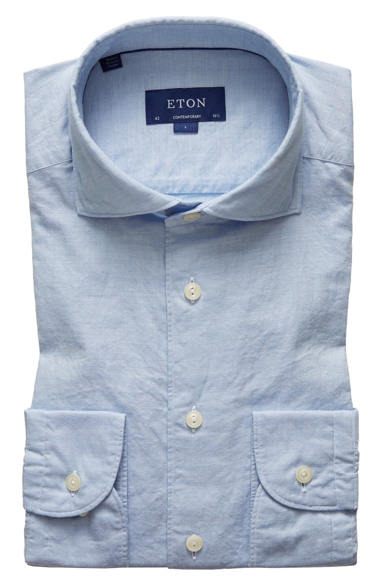 ETON Soft Casual Contemporary Fit Solid Cotton & Silk Shirt, Main, color, Blue