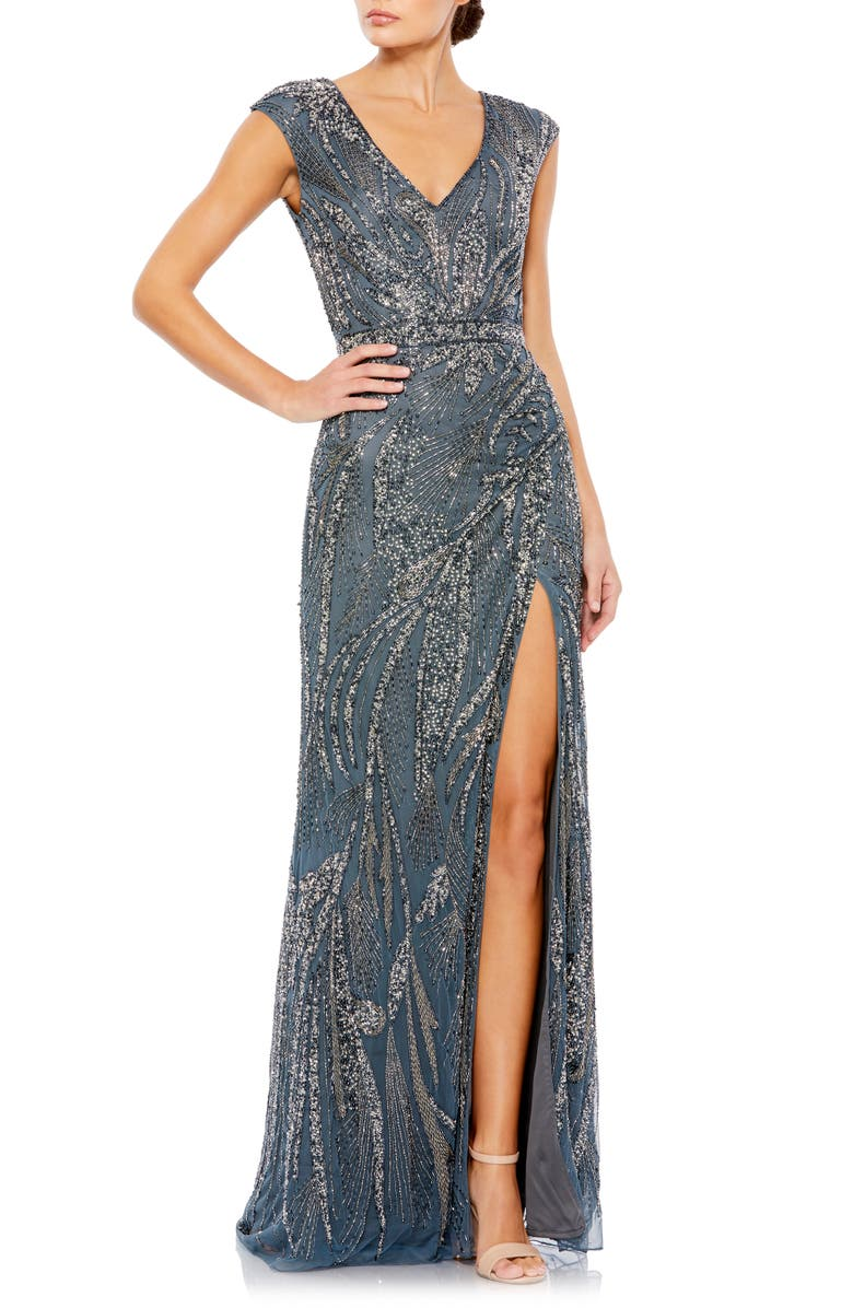 MAC DUGGAL Beaded Gown, Main, color, CHARCOAL