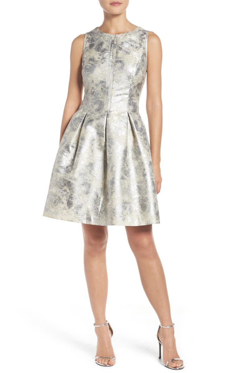 VINCE CAMUTO Metallic Fit & Flare Dress, Main, color, 040