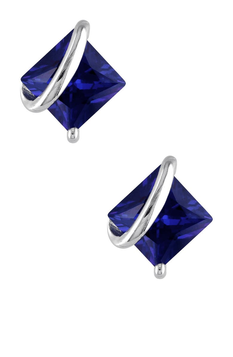 DELMAR Sterling Silver Wrapped Created Blue Sapphire Earrings, Main, color, BLUE