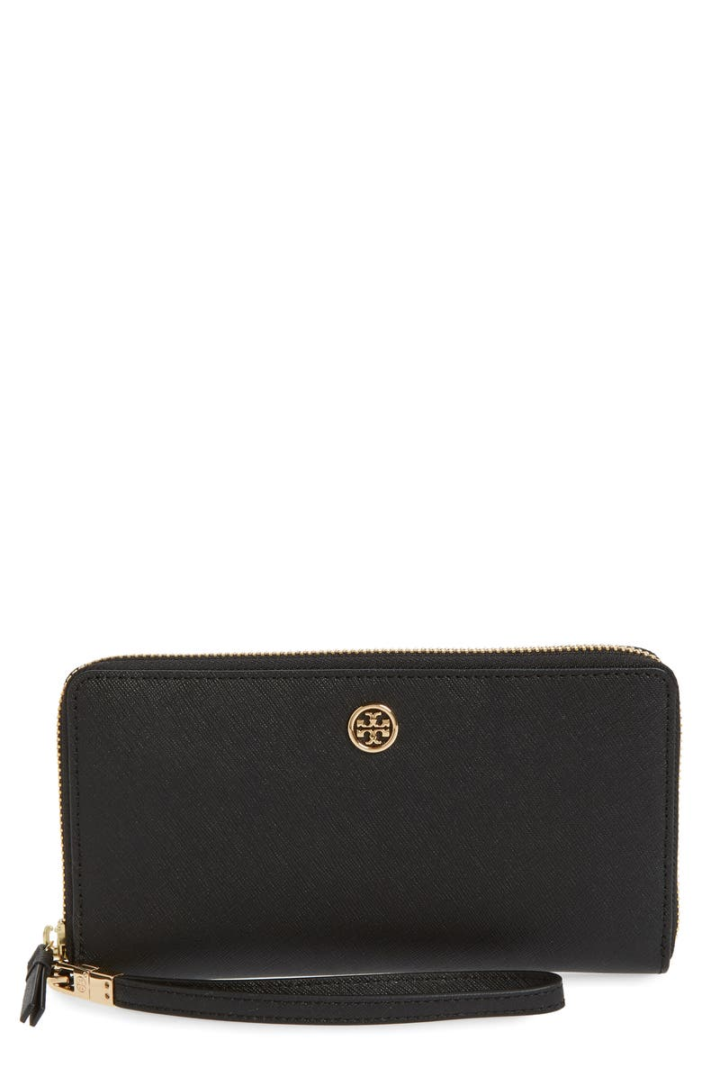 TORY BURCH Robinson Zip Leather Continental Wallet, Main, color, BLACK