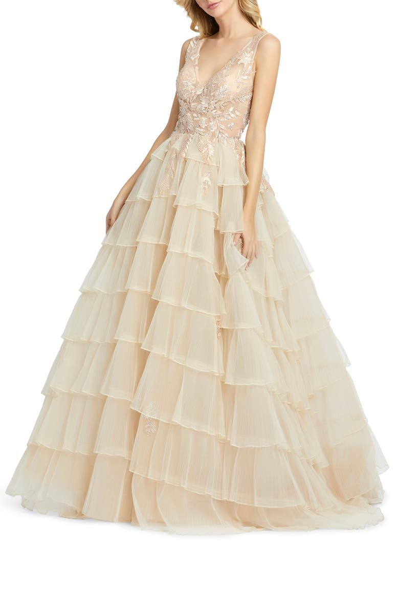 MAC DUGGAL Embellished Tiered Chiffon Ballgown, Main, color, CHAMPAGNE