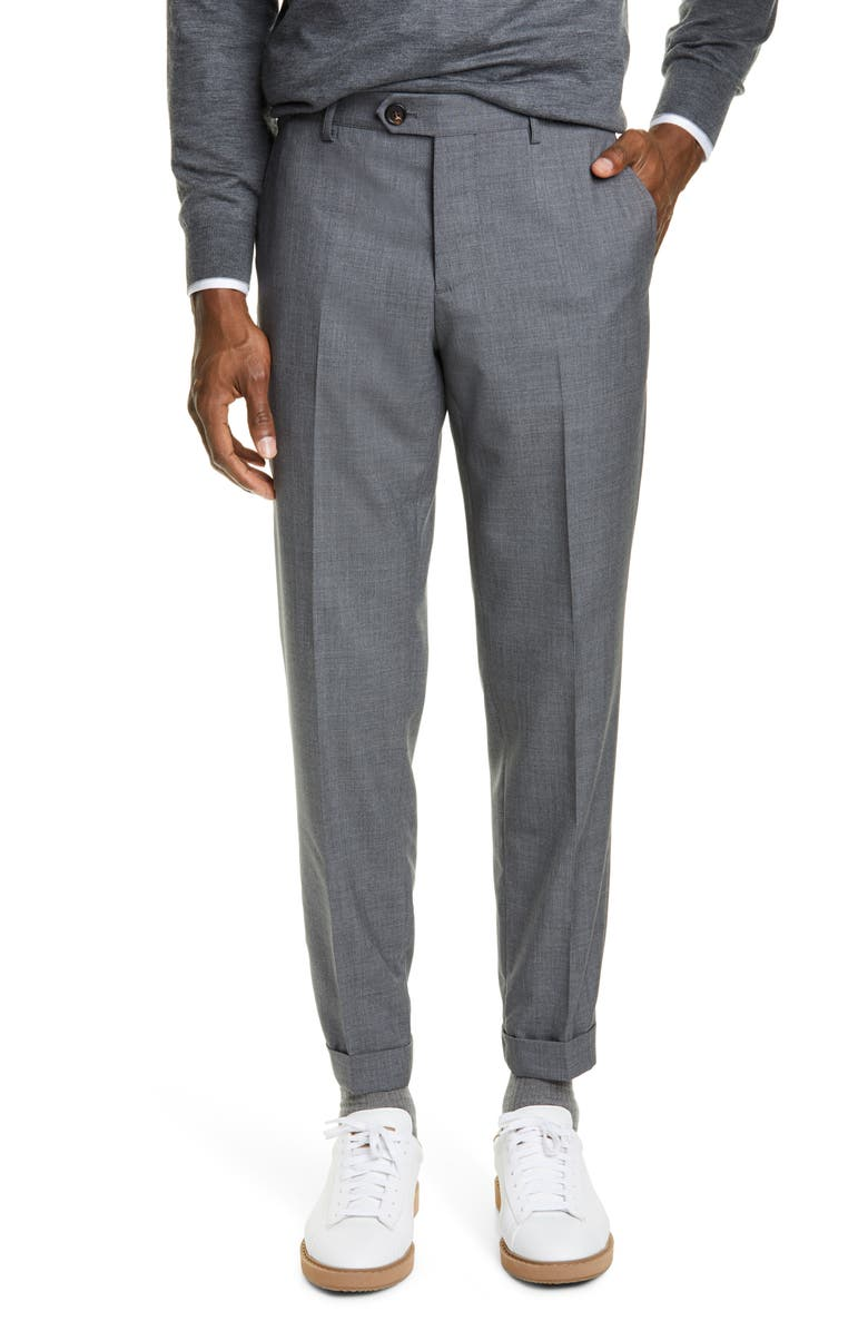 BRUNELLO CUCINELLI Flat Front Solid Wool Trousers, Main, color, 034