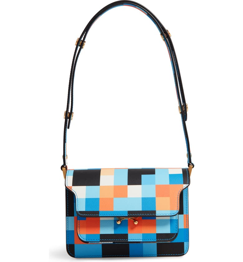 MARNI Small Trunk Colorblock Leather Shoulder Bag, Main, color, 400