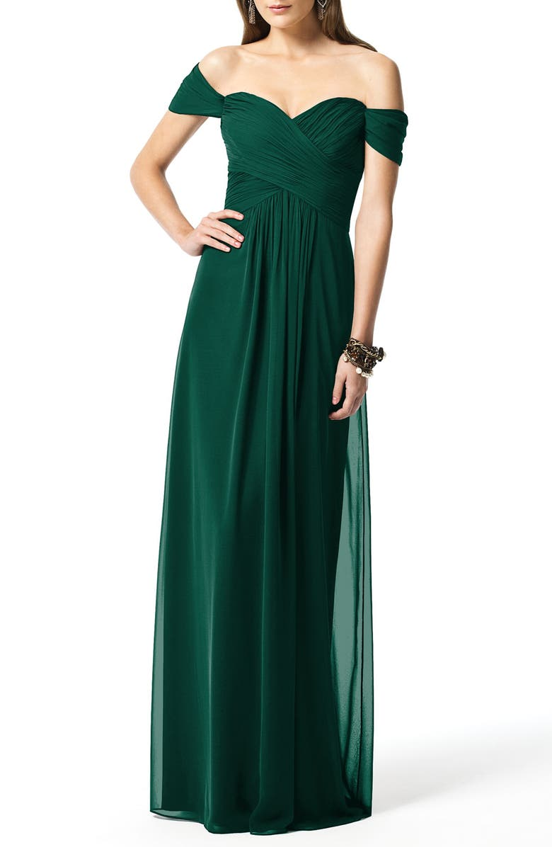 DESSY COLLECTION Off the Shoulder Chiffon A-Line Gown, Main, color, HUNTER
