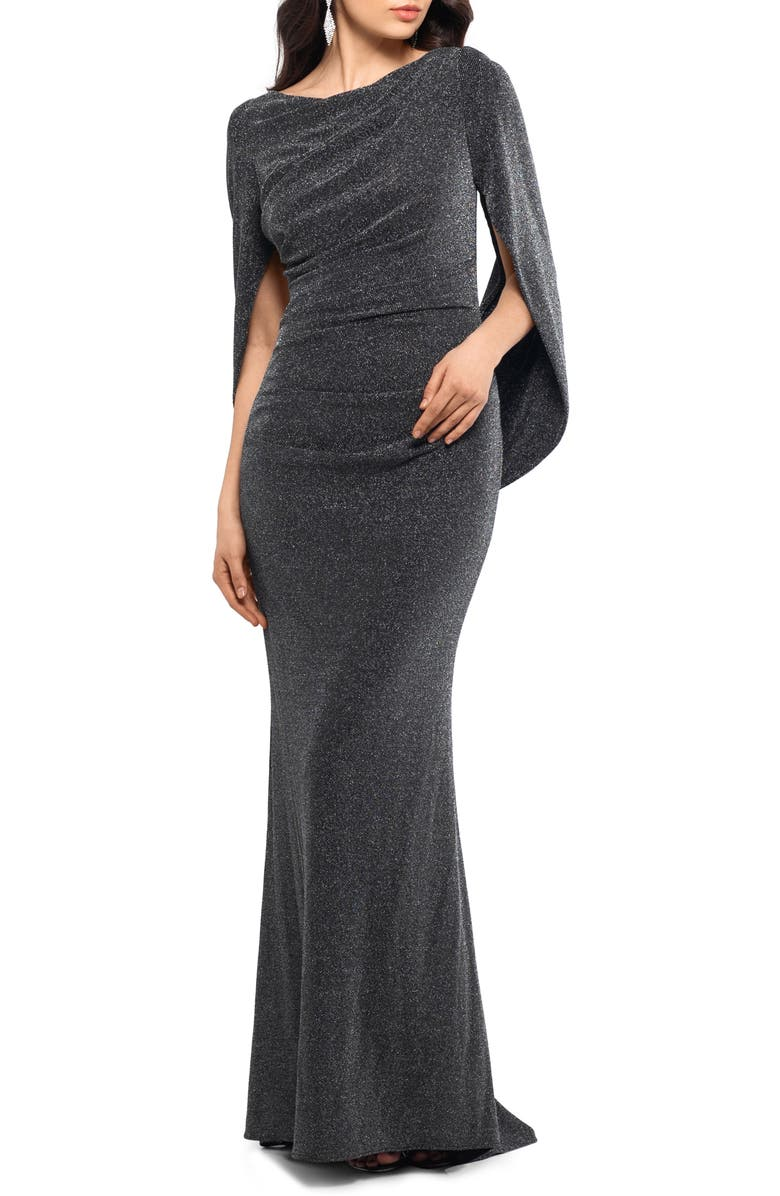BETSY & ADAM Metallic Drape Back Trumpet Gown, Main, color, BLACKSILVER