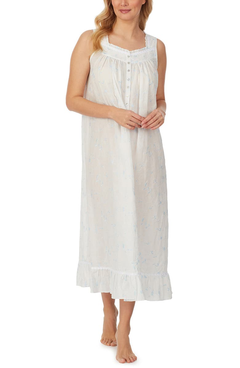 EILEEN WEST Sleeveless Ballet Nightgown, Main, color, WHITE/ BLUE