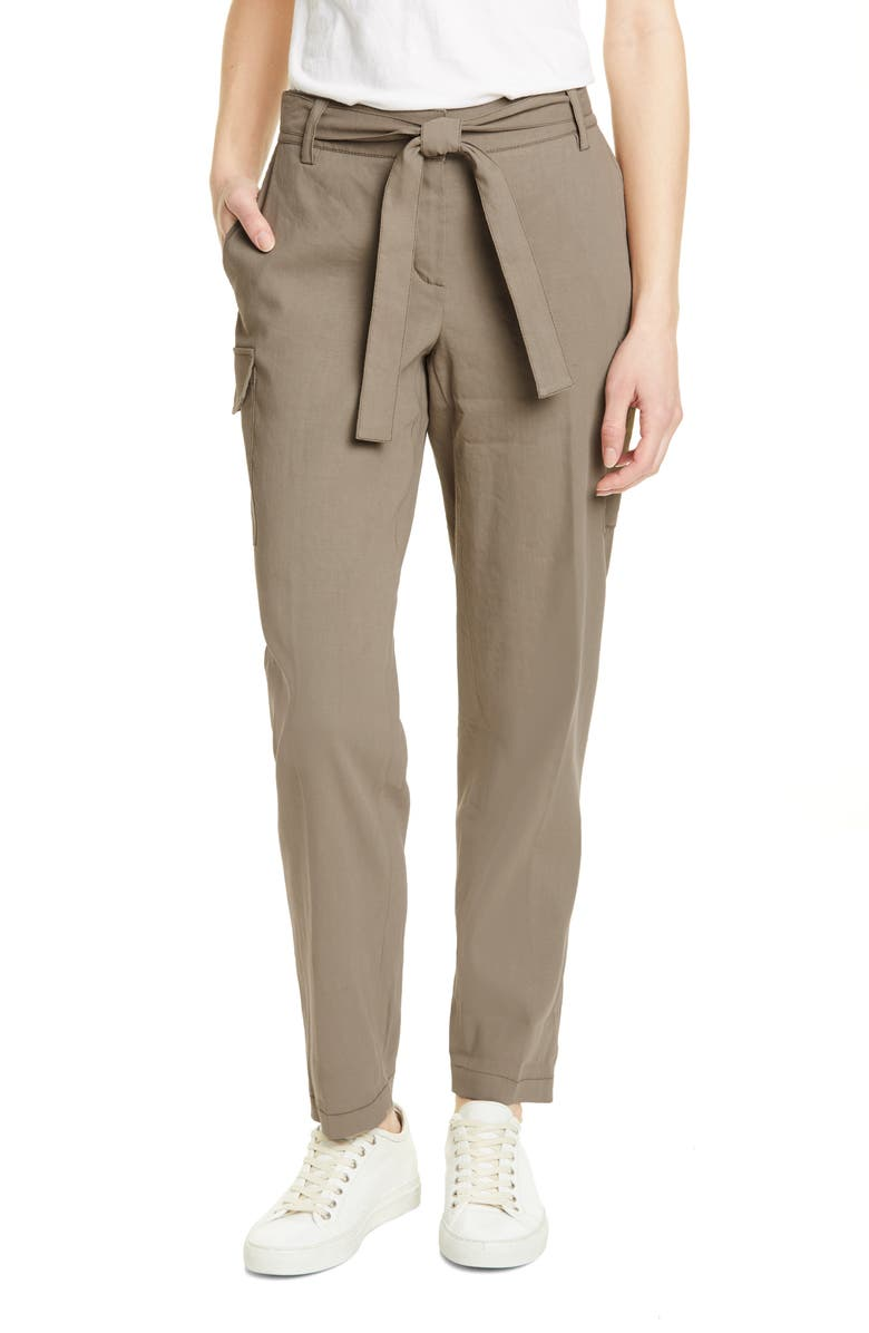 NORDSTROM SIGNATURE Belted Linen Blend Pants, Main, color, 310