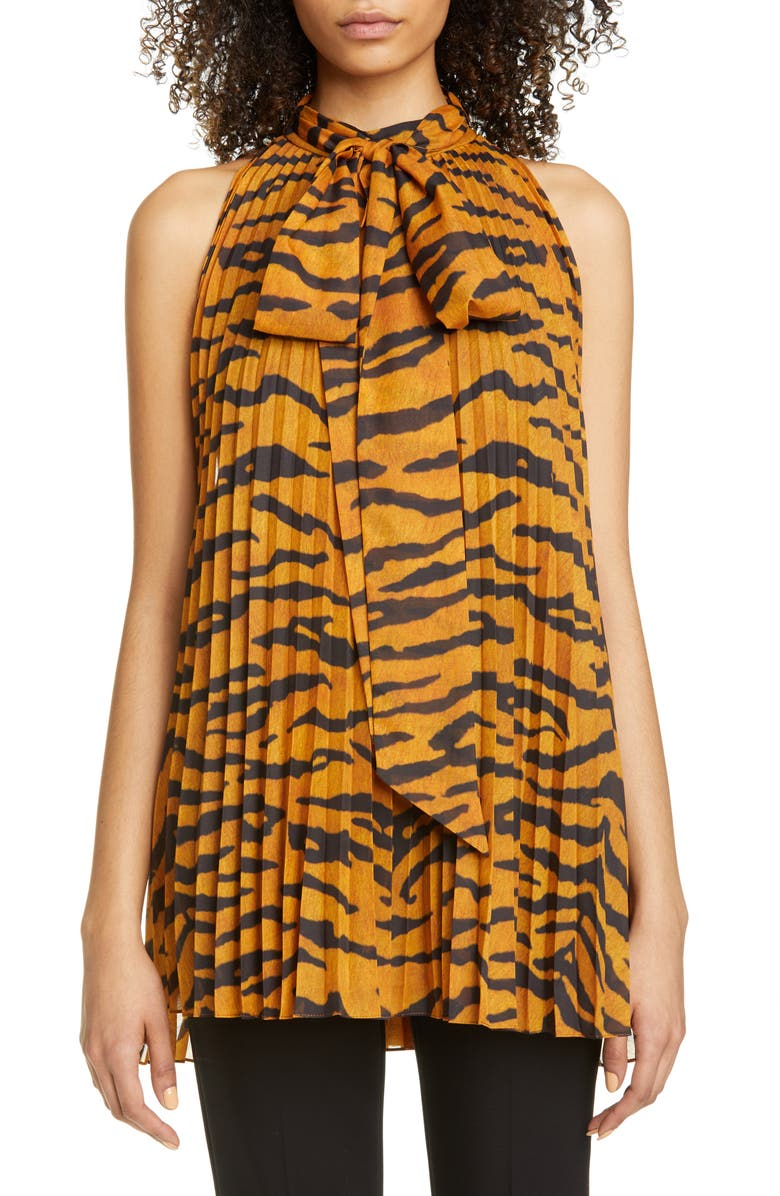 ADAM LIPPES Pleated Tiger Print Voile Halter Blouse, Main, color, 200