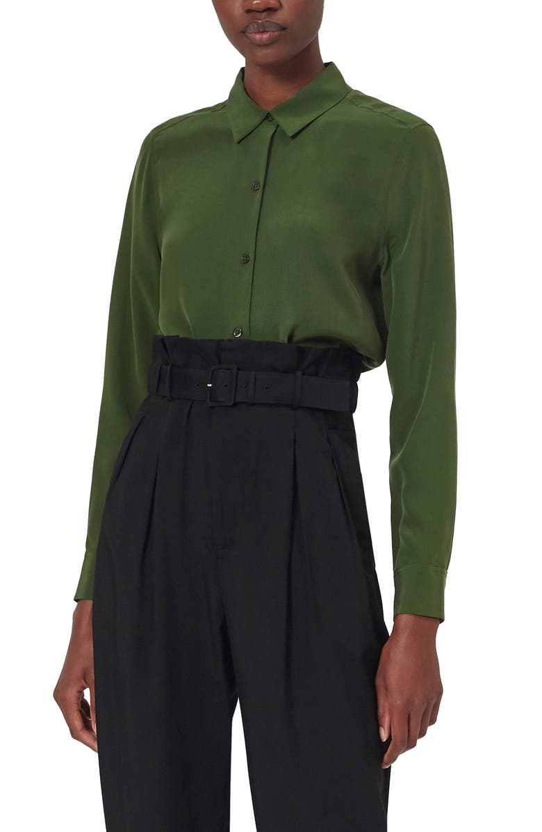 EQUIPMENT Essential Button Up Silk Shirt, Main, color, FORET GREEN