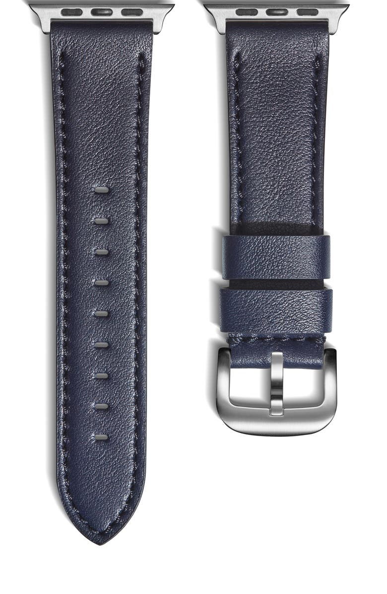 SHINOLA 24mm Leather Apple Watch<sup>®</sup> Strap, Main, color, NAVY